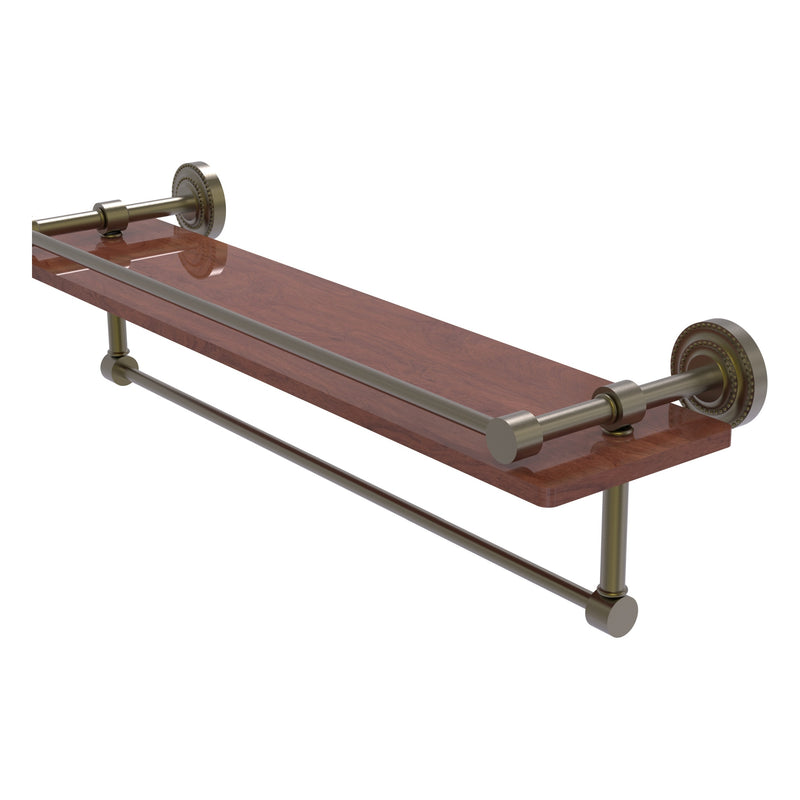 Dottingham Collection IPE Ironwood Shelf with Gallery Rail and Towel Bar
