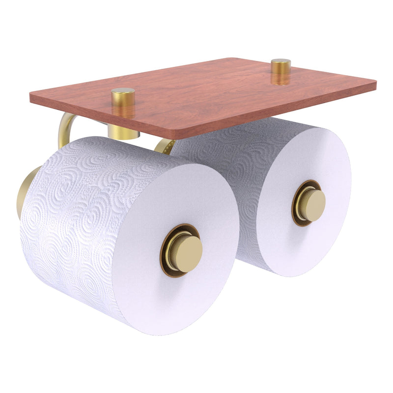 Dottingham Collection 2 Roll Toilet Paper Holder with Wood Shelf
