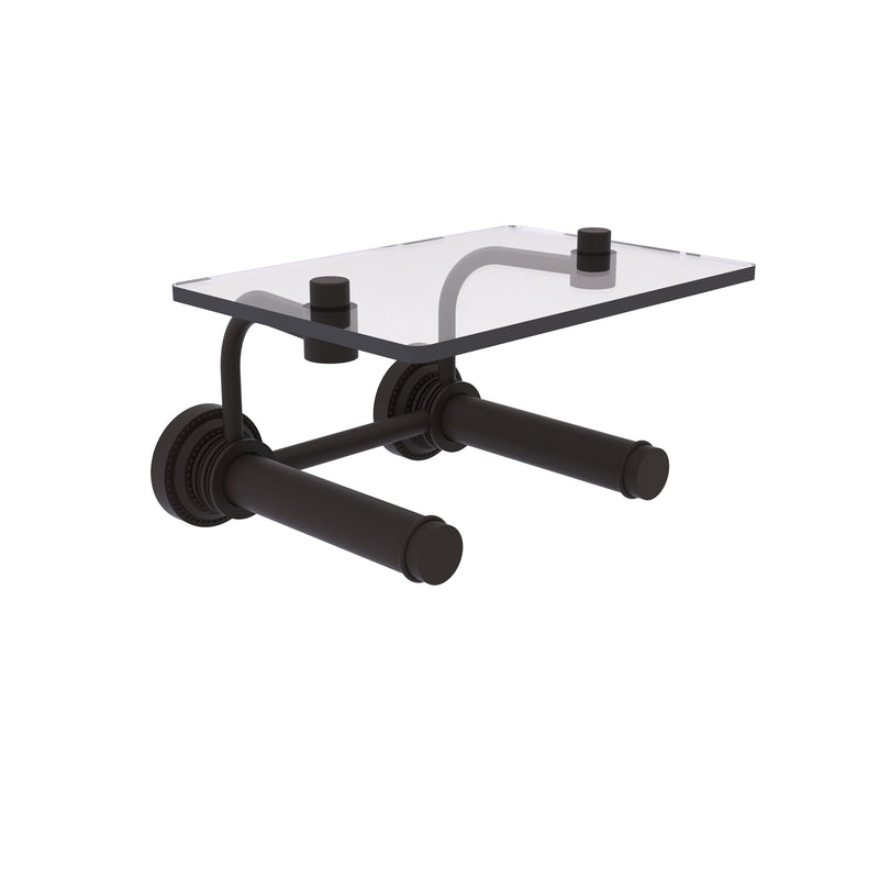 Dottingham Collection 2 Roll Toilet Paper Holder with Glass Shelf