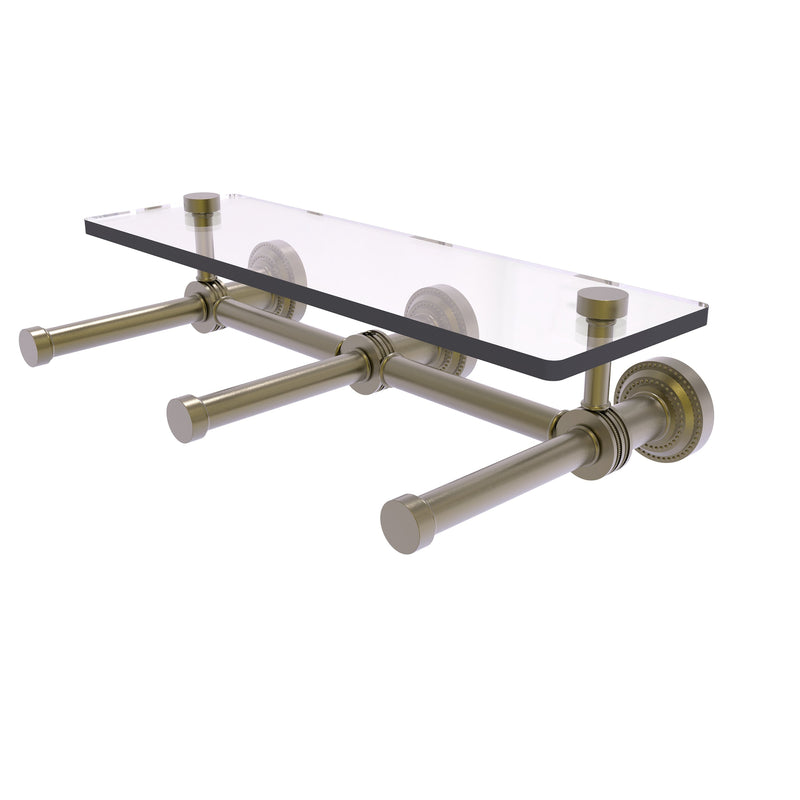 Dottingham Collection Horizontal Reserve 3 Roll Toilet Paper Holder with Glass Shelf