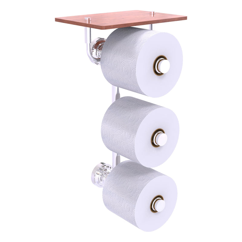 Dottingham Collection 3 Roll Toilet Paper Holder with Wood Shelf