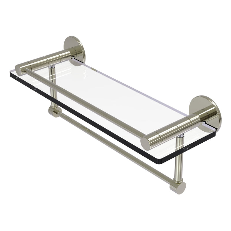 Fresno Collection Glass Shelf with Vanity Rail and Integrated Towel Bar
