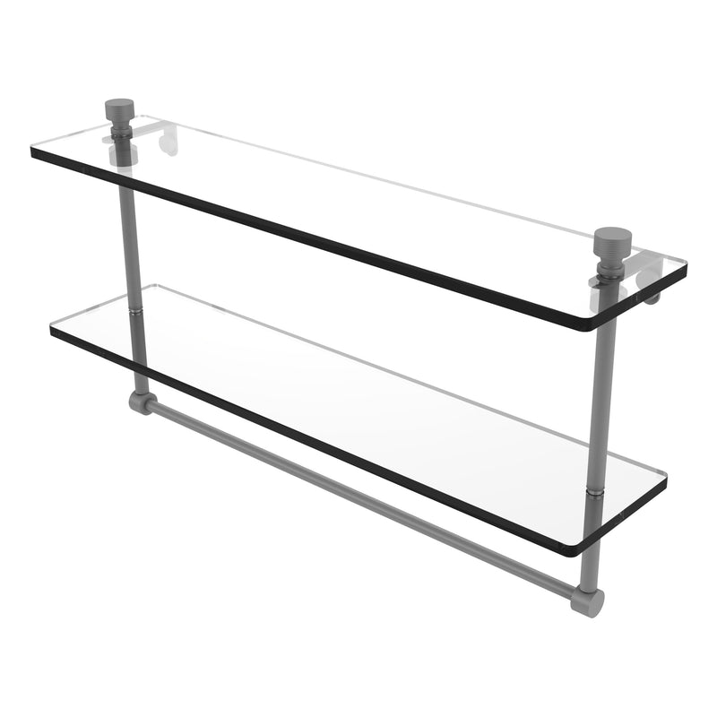 Foxtrot Collection Two Tiered Glass Shelf with Integrated Towel Bar
