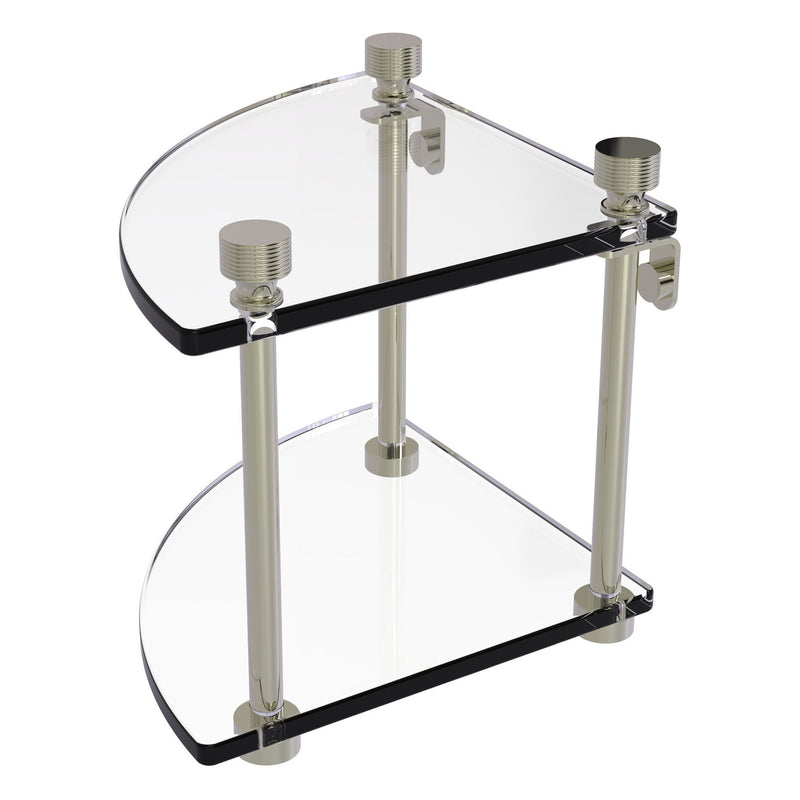 Two Tier Corner Glass Shelf