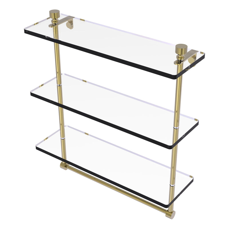 Foxtrot Collection Triple Tiered Glass Shelf with Integrated Towel Bar