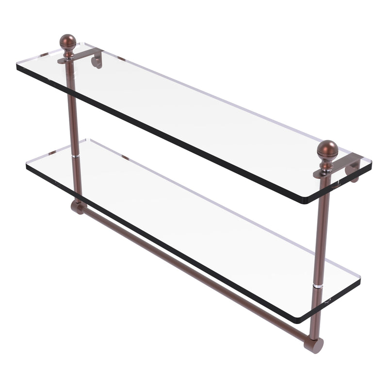 Mambo Collection Two Tiered Glass Shelf with Integrated Towel Bar