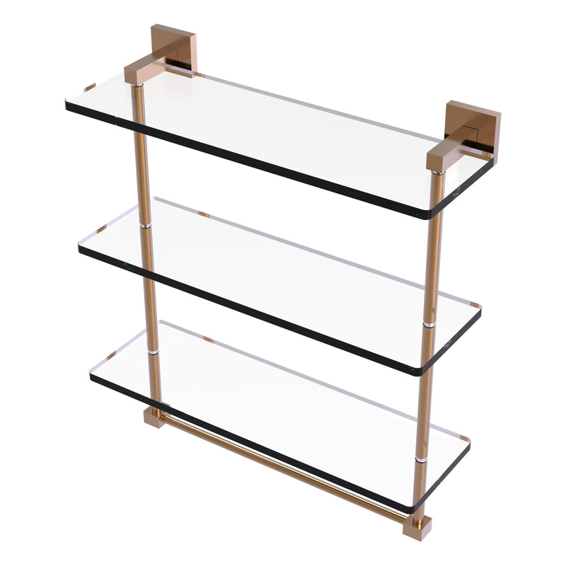 Montero Collection Triple Tiered Glass Shelf with integrated towel bar