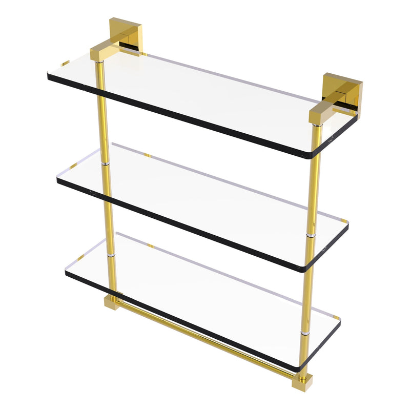 Allied Brass MT-5-16TB-VB Montero Collection 16 Inch Triple Tiered Glass Shelf with integrated towel bar Venetian Bronze