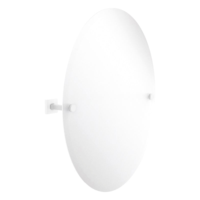 Montero Collection Contemporary Frameless Oval Tilt Mirror with Beveled Edge