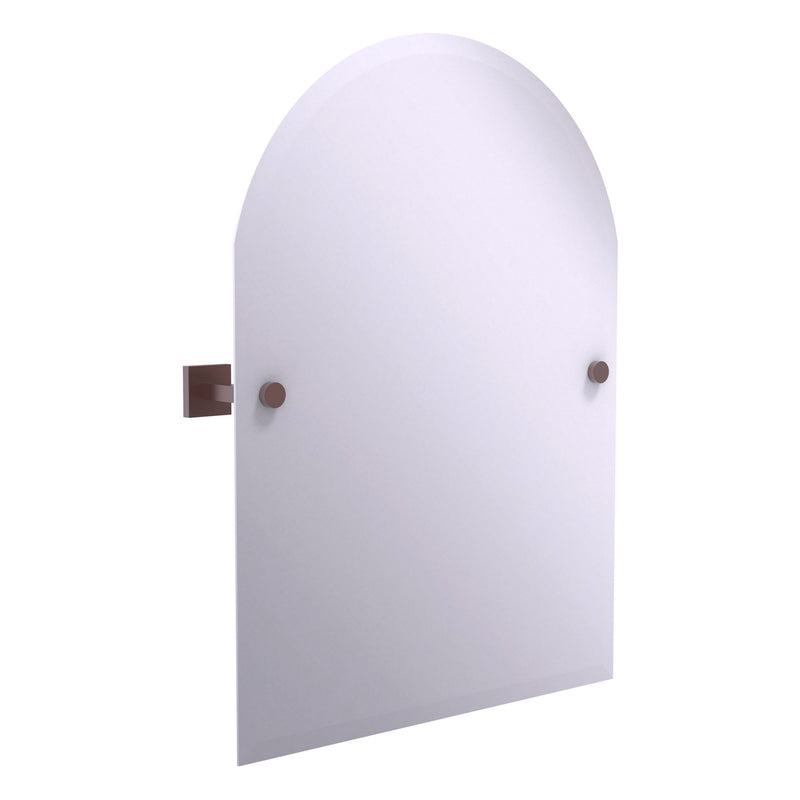 Montero Collection Contemporary Frameless Arched Top Tilt Mirror with Beveled Edge