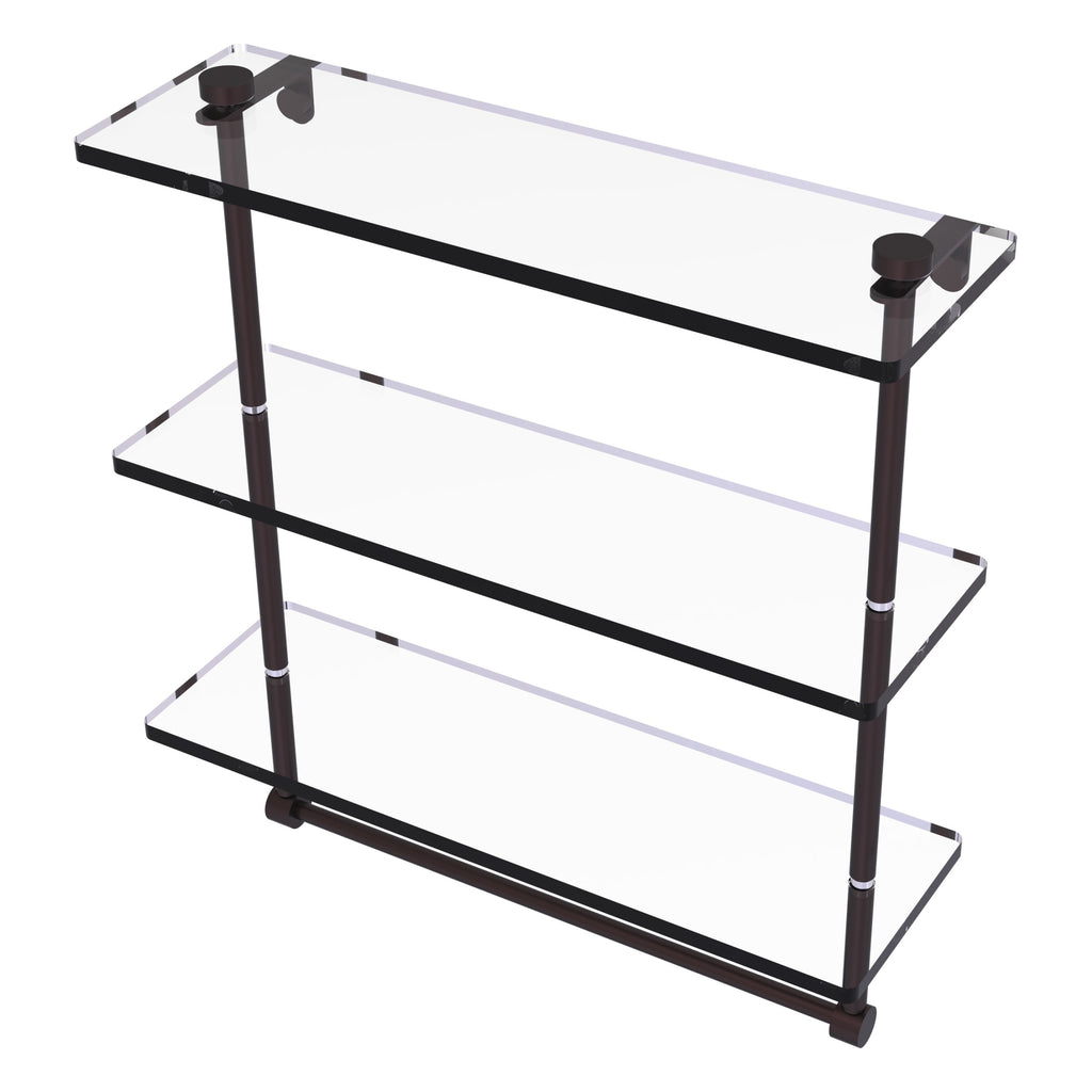 Triple Tiered Glass Shelf With Integrated Towel Bar