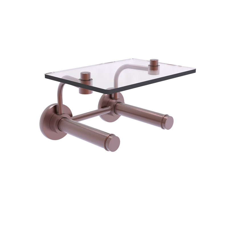 Prestige Skyline Collection 2 Roll Toilet Paper Holder with Glass Shelf