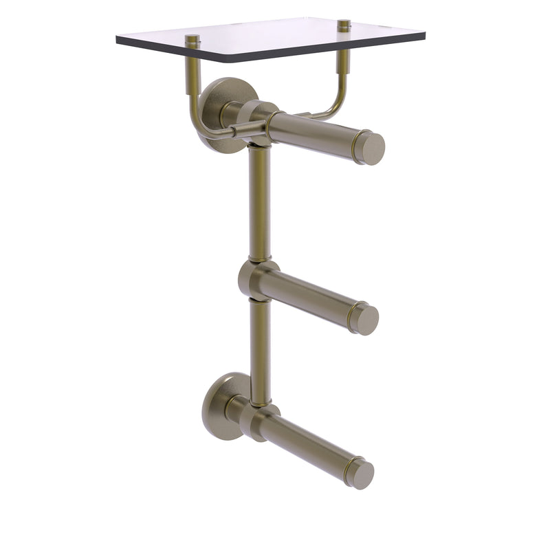 Prestige Skyline Collection 3 Roll Toilet Paper Holder with Glass Shelf