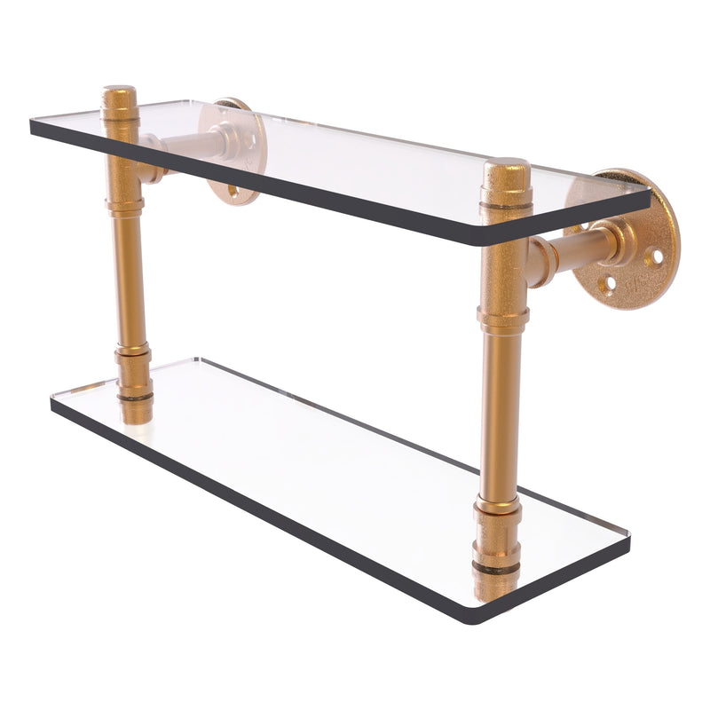 Pipeline Collection Double Glass Shelf