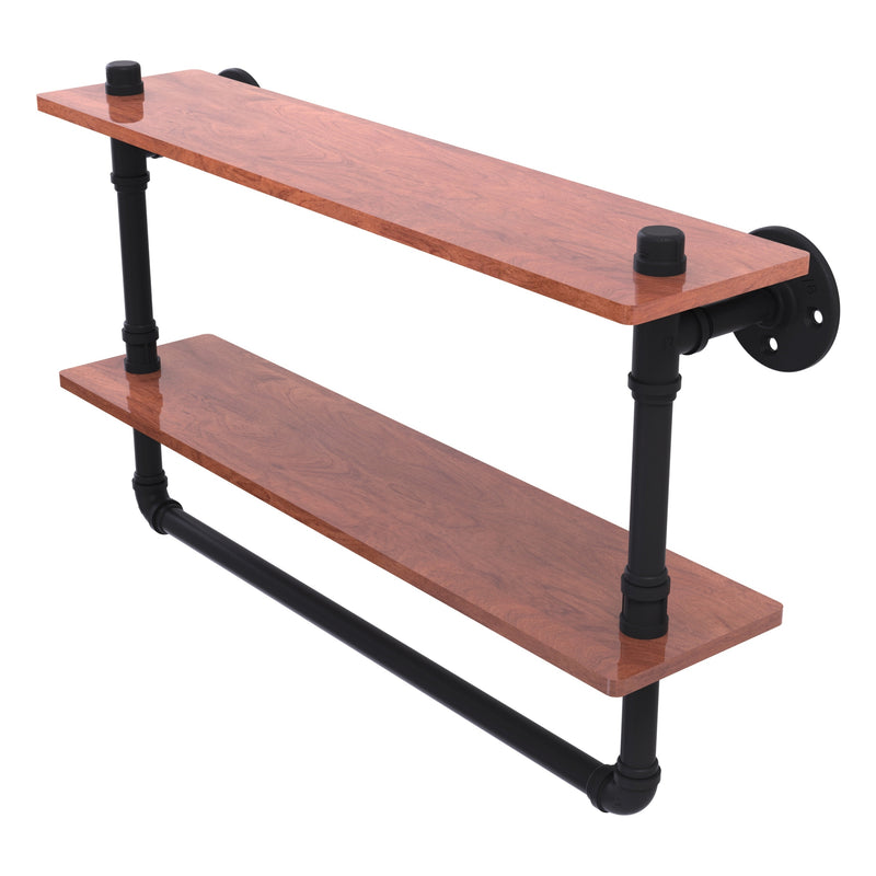 Pipeline Collection Double Ironwood Shelf with Towel Bar