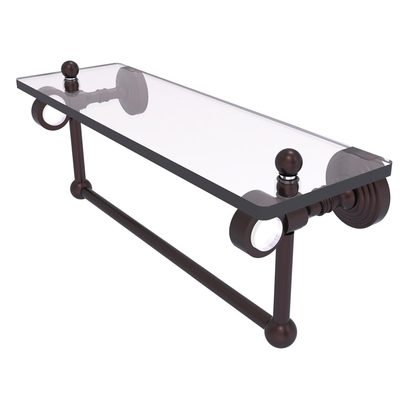 Pacific Grove Collection Glass Shelf with Towel Bar with Smooth Accents