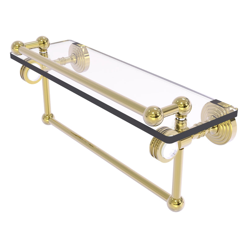 Pacific Grove Collection Glass Shelf with Gallery Rail and Towel Bar with Dotted Accents