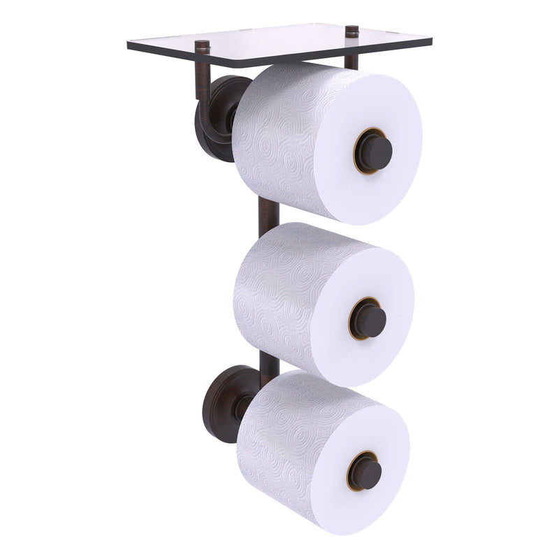 Prestige Regal Collection 3 Roll Toilet Paper Holder with Glass Shelf