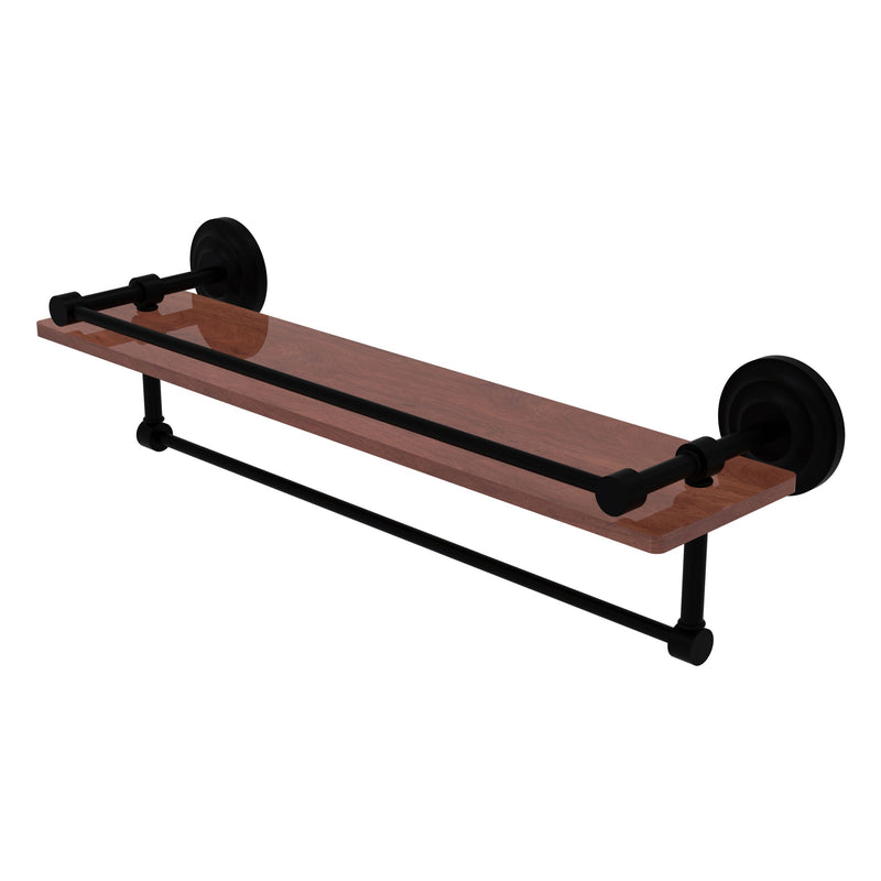 Que New Collection IPE Ironwood Shelf with Gallery Rail and Towel Bar