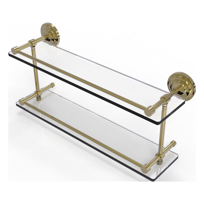 Que New Collection Double Glass Shelf with Gallery Rail