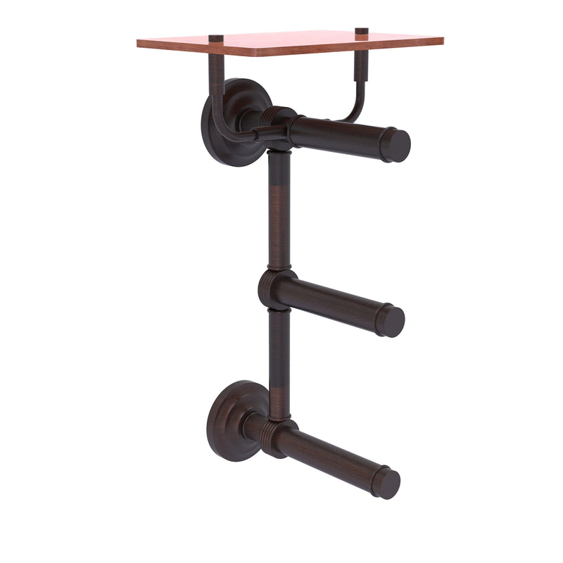Que New Collection 3 Roll Toilet Paper Holder with Wood Shelf