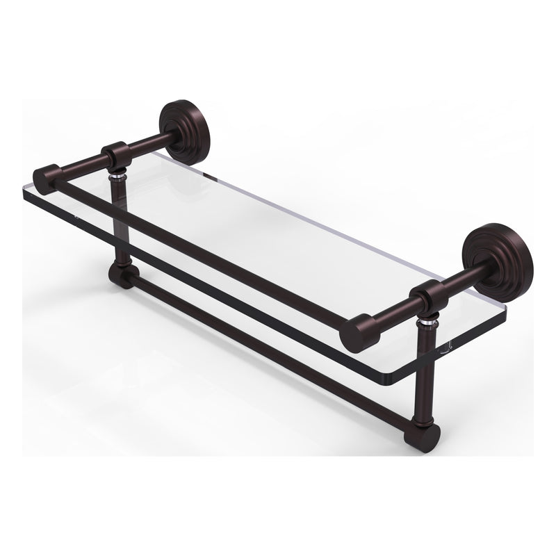 Waverly Place Collection Gallery Rail Glass Shelf with Towel Bar