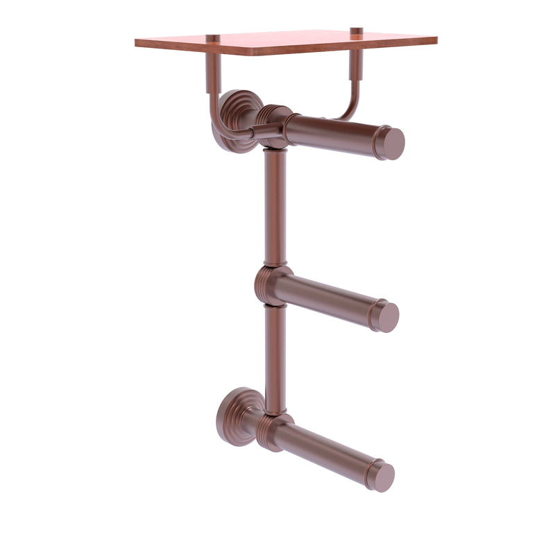 Waverly Place Collection 3 Roll Toilet Paper Holder with Wood Shelf