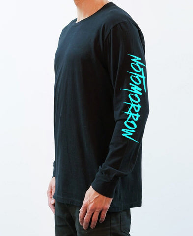 NT Writing Long Sleeve Tee - Black/Teal - NEW