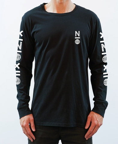 X Symbol Long Sleeve Tee - Black/White - NEW