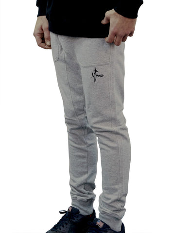 Signature Embroidered Trackpants - Grey Marle