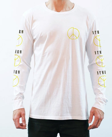 Peace Long Sleeve Tee -  White - NEW