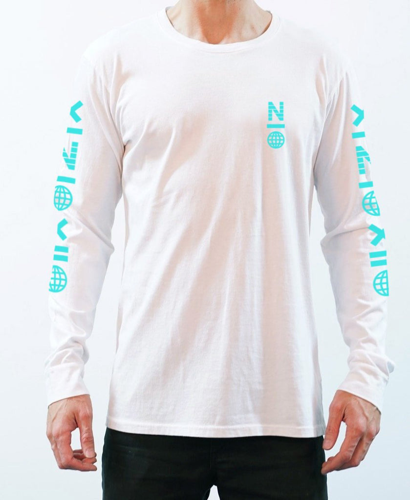 X Symbol Long Sleeve Tee - White/Aqua - NEW