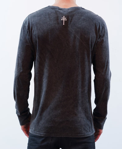 BASIC LONG SLEEVE TEE - ACID BLACK
