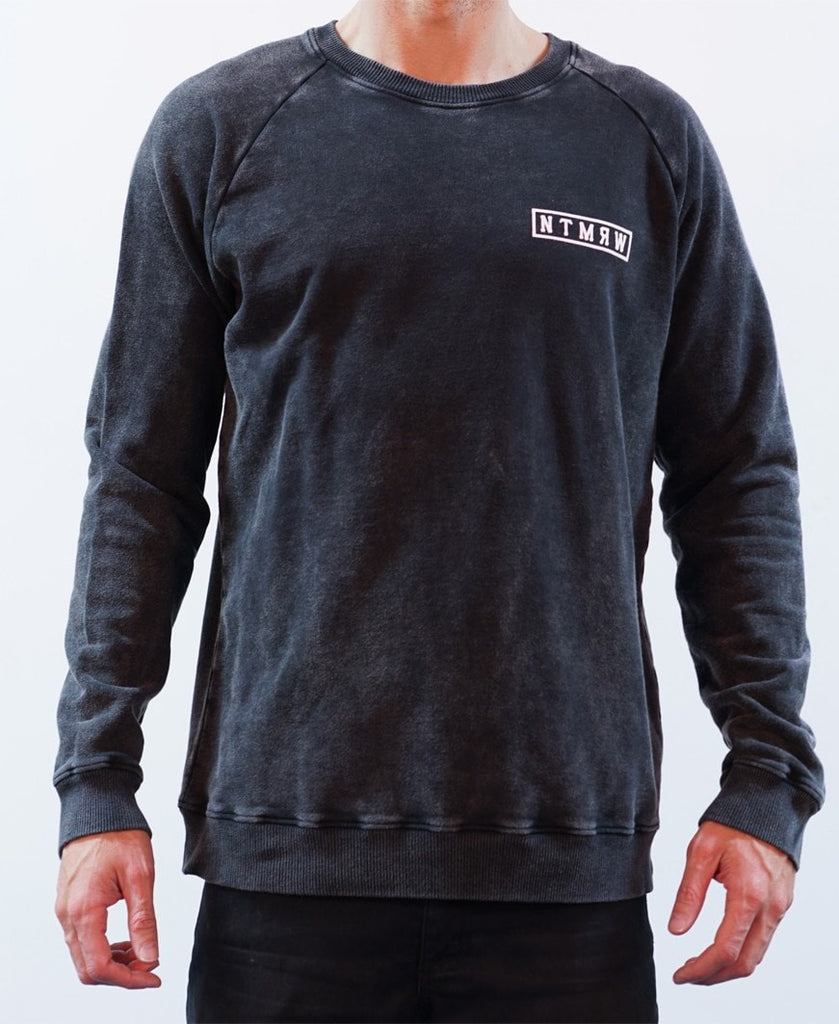 BASIC RAGLAN CREW JUMPER - ACID BLACK