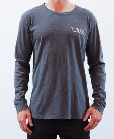 BASIC LONG SLEEVE TEE - CHARCOAL MARLE