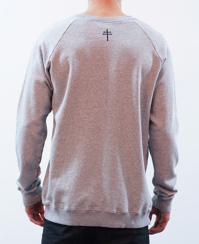 BASIC RAGLAN CREW JUMPER - GREY MARLE