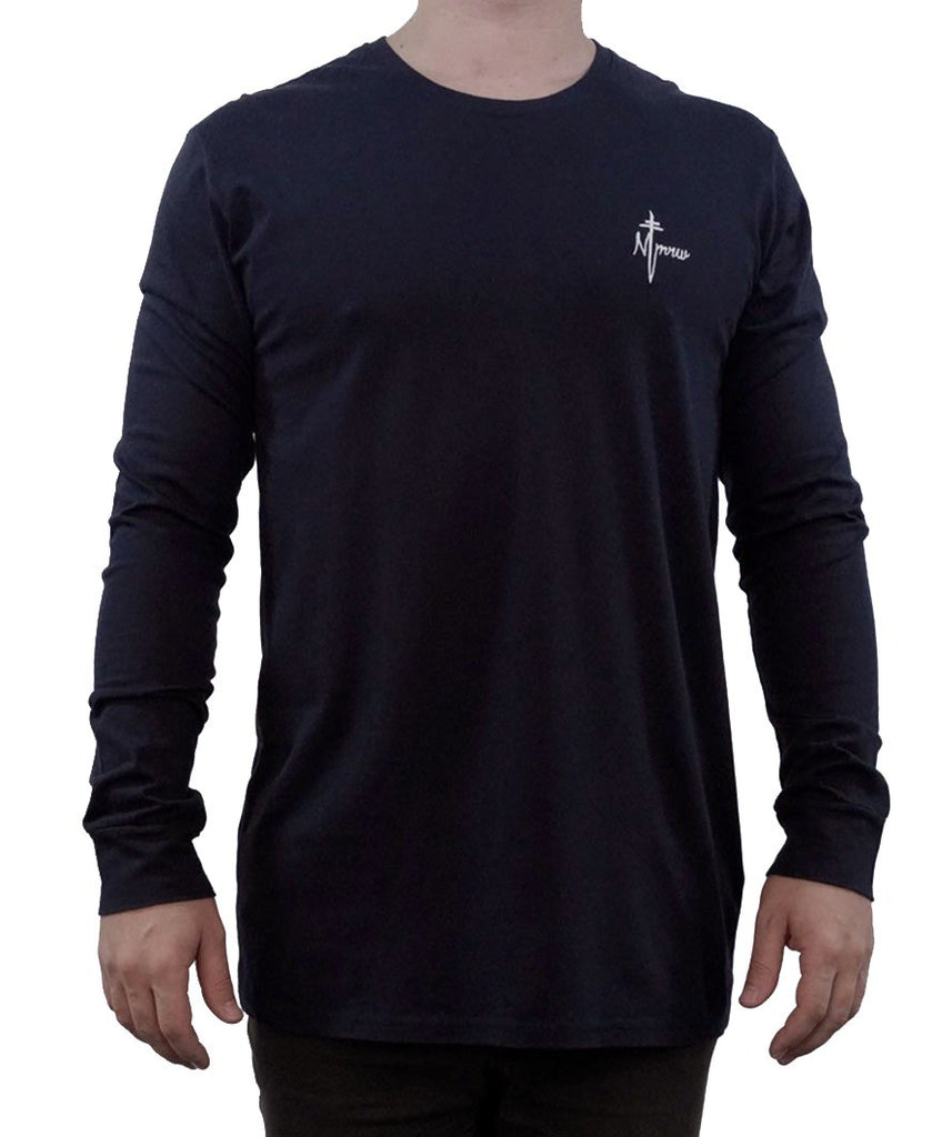 Signature Embroidered Long Sleeve Tee - Navy