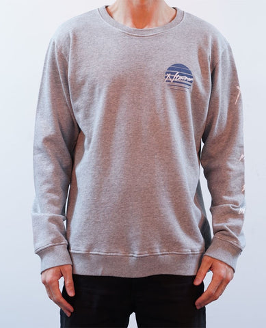 Rising Sun Crew Jumper - Grey Marle