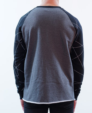 Scribble Raglan Crew Jumper - Charcoal Marle/Black