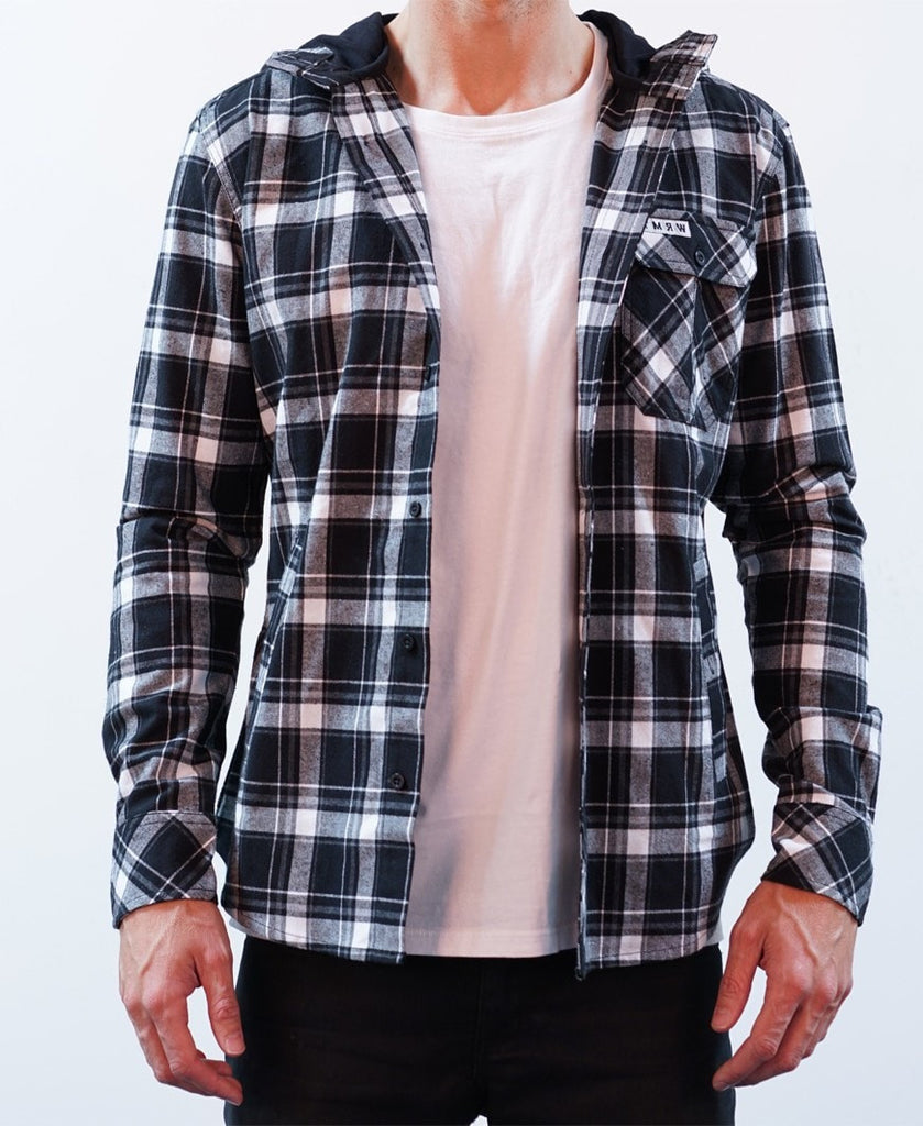 Weekender Hooded Shirt - Black/White