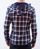 Weekender Hooded Shirt - Navy/White