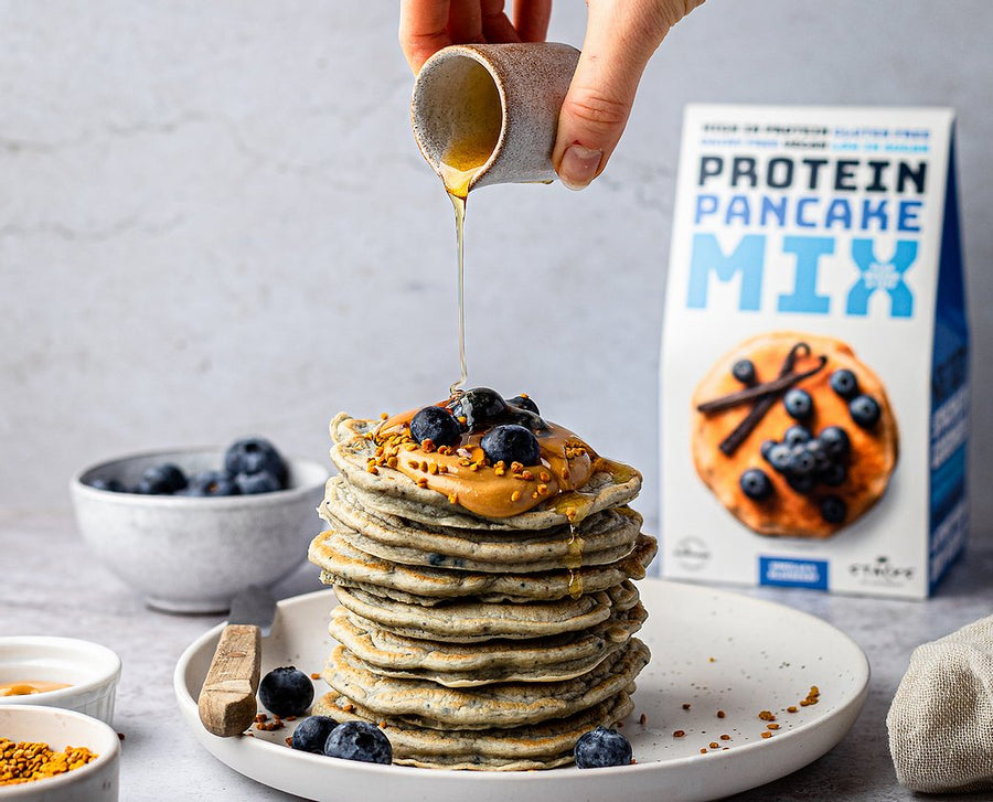 Stacks of Goodness Blueberry & Vanilla Protein Pancakes