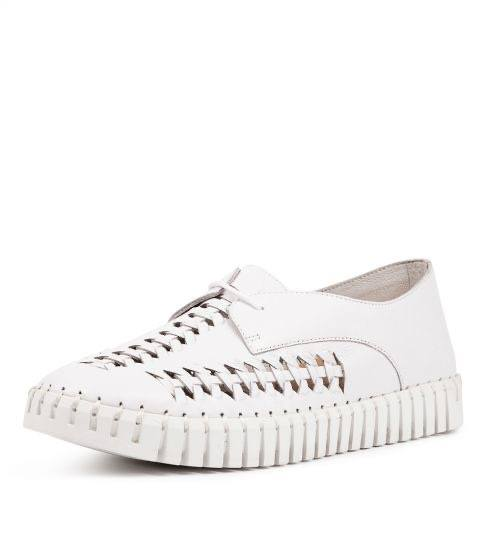 Hubert lace up leather sneakers WHITE