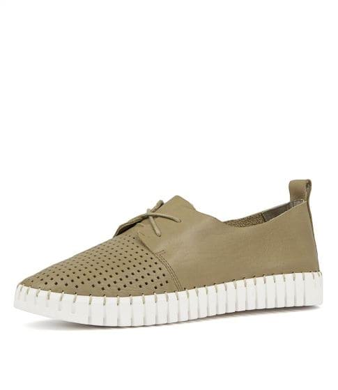 Huston lace up leather sneakers KHAKI
