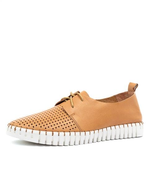 Huston lace up leather sneakers TAN
