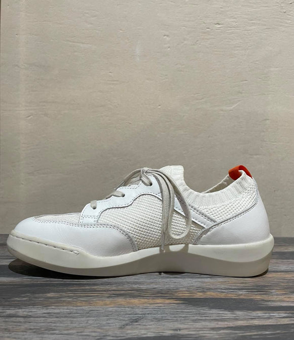 BEAU knit sneaker with leather trim WHITE was $199
