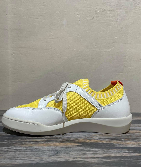 BEAU knit sneaker with leather trim YELLOW was $199