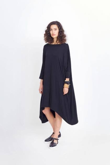 Wide stretch dress BLACK