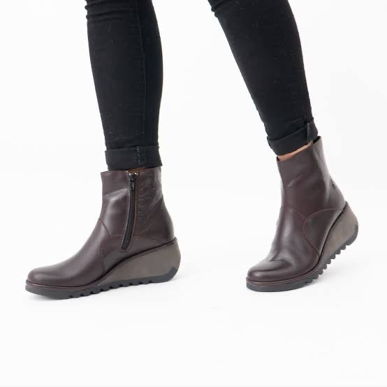 Fly London NEST leather boots Wine