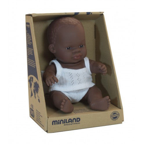 Miniland | Anatomically Correct Doll | African Boy | 21 cm